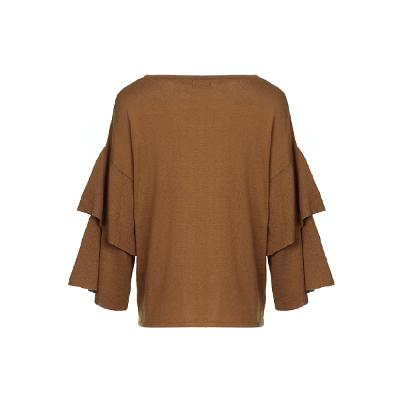 tiered sleeve knit top brown 3